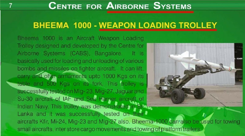 India's Centre of Airborne Systems designs a weapon loading trolley