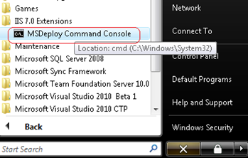 msdeploy command console