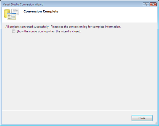 VS 2010 Conversion Wizard Complete