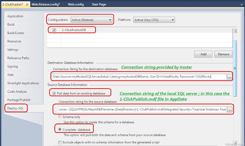 Deploy SQL tab