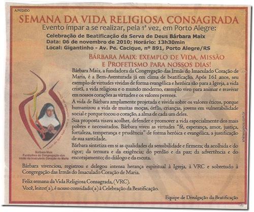 Convite para Beatificacao de Barbara Marx