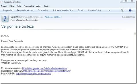Email para Dom Fernando Saburido