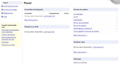 Panel de Herramientas para webmasters de Google