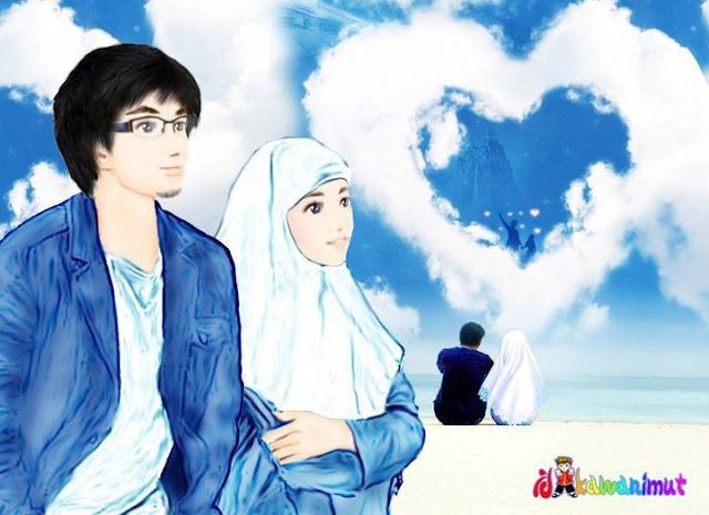 Muslim Romantic Couples Cartoon
