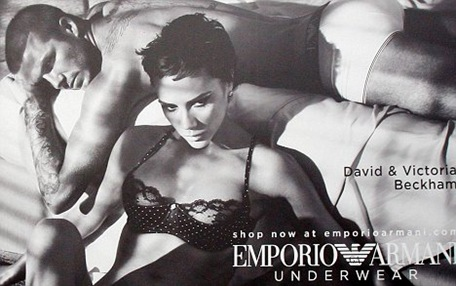 David and Victoria Beckham bedtime scene Armani Underwear Ad Photo Spring Summer 2009