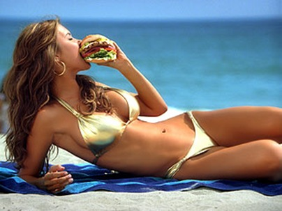 Audrina Patridge gold Bikini Burger Ad photo
