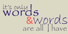 words tile blue and red