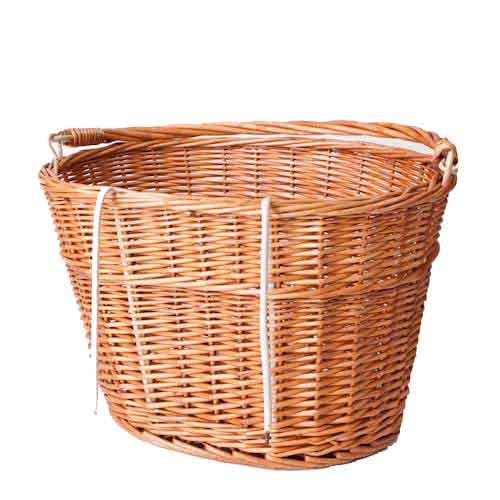 Wicker Bicycle Basket With Handle : Wicker bicycle basket w handlebar hooks carry handle