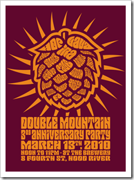 poster of Double Mountain Brewery's Third Year Anniversary courtesy of Double Mountain's website