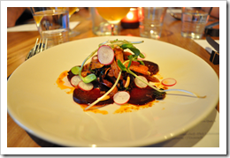 image of Tunisian Carrot Salad, with Red Cabbage, Roasted Beers, Pine Nuts, Harissa Vinaigrette, and served with Russian River Temptation courtesy of our Flickr page