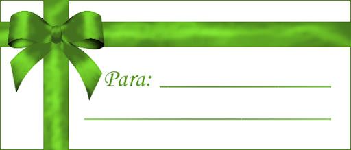 etiqueta con lazo verde para imprimir regalos de navidad y reyes