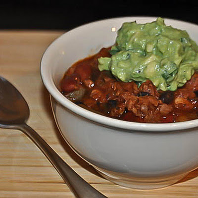 Vegan 3 Bean Chili With Guacamole