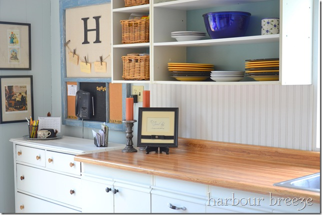 diy beadboard wallpaper cabinets