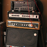 The Bass Rig.  Three amps, three different sounds, feeding Ampeg IsoVent cab.  (But not at the same time, silly!)  Were Currently tracking with Steves sweet Sunn Concert Lead guitar amp.  Are you jealous of that awesome retro glass bowl-pick on top?