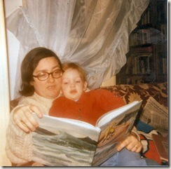 1978 11 Nikki reading Burt Dow Deep Water Man to Niels with a Down East accent