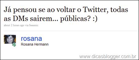 Tweet da Rosana Hermann