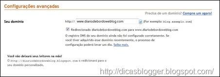 configurando no Blogger
