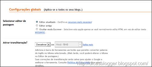 habilitando o novo editor do Blogger