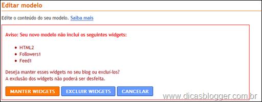 Manter ou excluir widgets