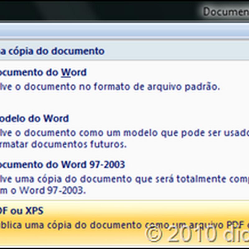 Como salvar arquivos do Word 2007 em PDF