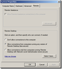 Windows 2008 r2 remote settings