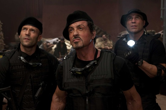 Jason Statham, Sylvester Stallone and Dolph Lungren in The Expendables