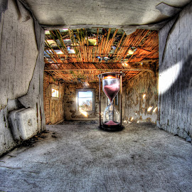 Pink Sands by Eric Demattos - Artistic Objects Antiques ( pealing, lost, house, hour glass, antique, decay, abandoned )