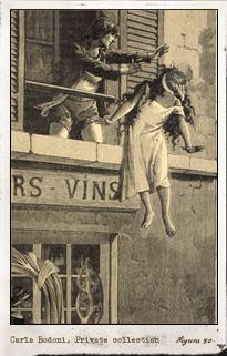 Carla Bodoni en Une semaine de Bonté de Max Ernst. Imagen propiedad de Daniel Filipacchi. Pulse para ver la imagen completa