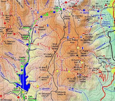 Harta Bucegi: Cabana Zanoaga - Padina- Babele - Busteni