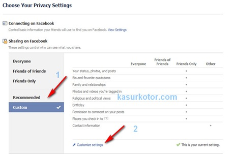 fb privacy setting