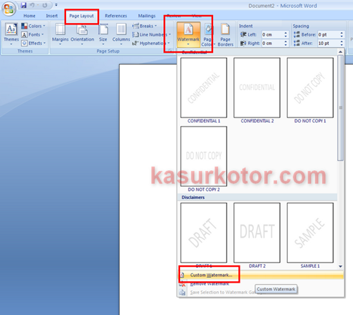 Membuat Watermark Di Dokumen MS Office Word