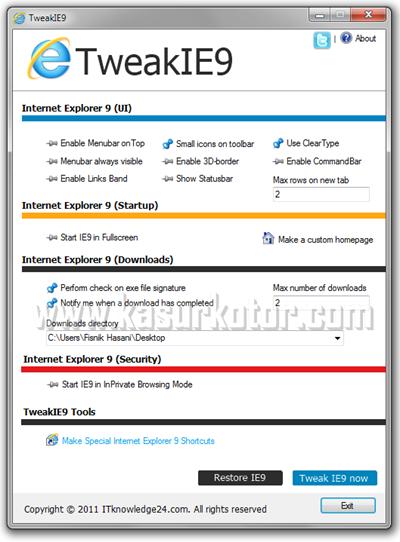Mengganti Pengaturan Default di Internet Explorer 9 - TweakIE9