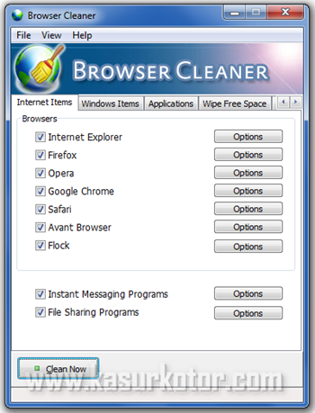 Browser Cleaner, Menghapus History di Browser Firefox, Opera, Chrome