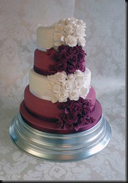 4-Tier-Rose-cake-in-burgundy-and-white