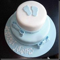 2-tier-Blue-Christening-footprints-Cake