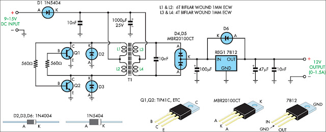 hi fi web 12v regulated inverter supply circuit diagram