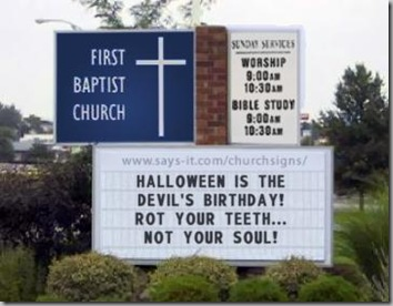 Church sign Halloween