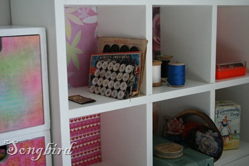 Close up sewing cupboard