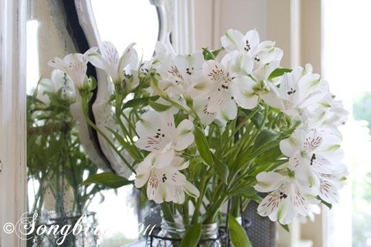 Spring White Mantel Vignette 5