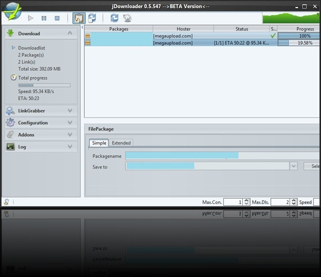 JDownloader Beta 0.5.547