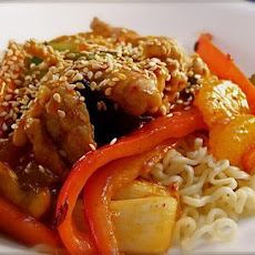 Mandarin Pork Stir-Fry With Sesame Noodles