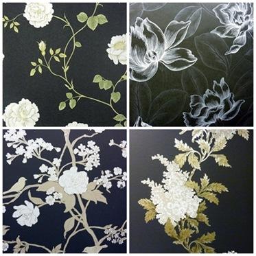 Vita blommor på svart botten1