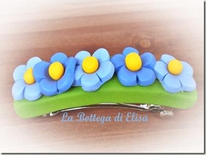 fermaglio  fiori azzurri
