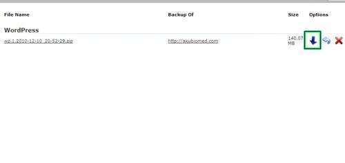 Backup WordPress boleh muat turun