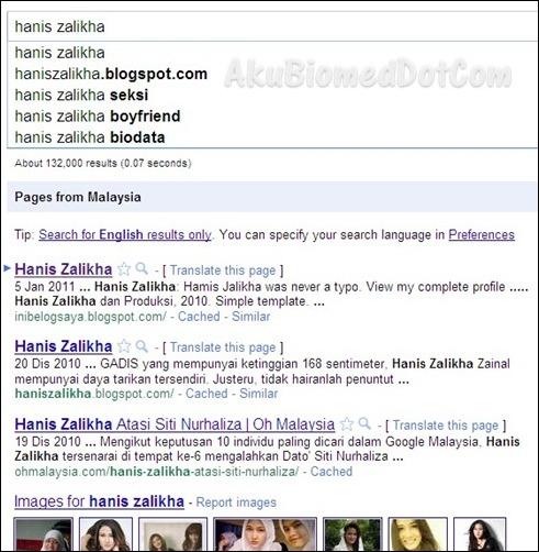 Hasil carian Google untuk keyword Hanis Zalikha