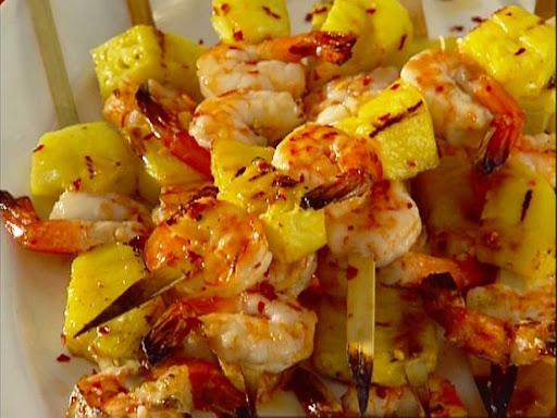 Brochetas de langostinos pi a y salsa de miel mi - Brocheta de langostinos y bacon ...