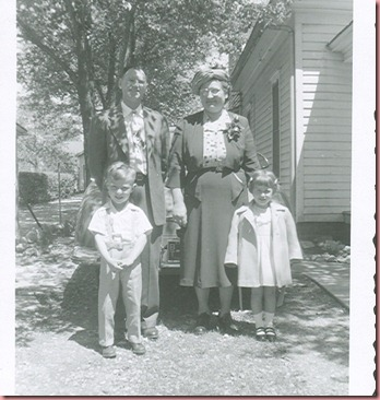 Dennis and Becky with Grandpa and Grandma Easter 1951