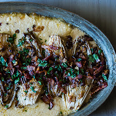 Cream Baked Endive with Bacon and Pecans