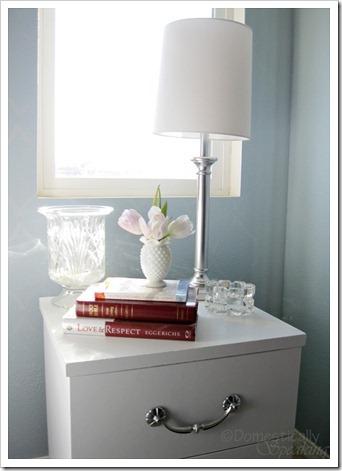 White painted laminate nightstand