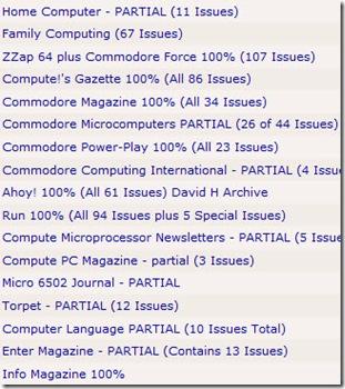 old magazines list screen